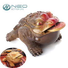NEO 3 Different Styles Resin Color-Changing Lucky Money Toad Figurine Frog Statue with the Coin Feng Shui Tea Pet Home Ornaments
