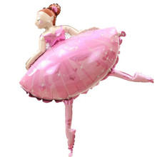 TSZWJ G-028 Free shipping toys imported aluminum balloons decorated birthday party balloons wholesale ballet girl(China)