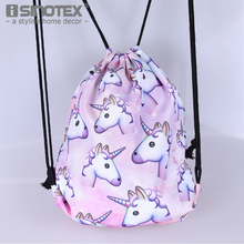 Fashion Purple Unicorn Backpack Canvas Fabric Storage Bag Box Drawstring Bag Clothing Sundries Square Shape Girls 39x30CM 1 PCS