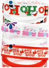 16mm-75mm Christmas Letters Printed Grosgrain/Foe Ribbon Snow Patterns Green and Red Handmade Christmas Gift Ties 50yards/roll(China)
