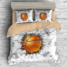 Fanaijia 3d basketball printing bedding set luxury sport Duvet Cover set queen size boy Bed Set(China)