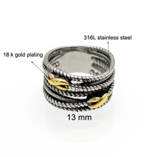 Jewelry Manufacturer China 316L Stainless Steel metal Plated Multi Tier Nail Screw Finger Ring For Men(China)