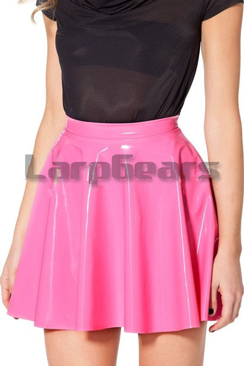 A-line Pink Latex Mini Dress Cute Girl Sexy Skirt