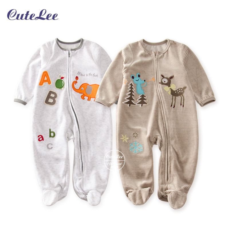 Newborn boy rompers Coral Fleece Winter baby Clothing Cutelee cartoon Infant Clothes Age 3-18M kid clothes Plush winter romper<br><br>Aliexpress