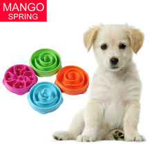 Pet Dog Cat Interactive Slow Food Bowl 1Pc Anti Slip Gulp Feeder Healthy Bloat Dish For Pet Feeding Tools(China)