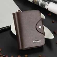 Vertical section Durable new brand men wallets Men Leather ID Card Holder Zip Purse Wallet Handbag Clutch holesale Free Shipping(China)