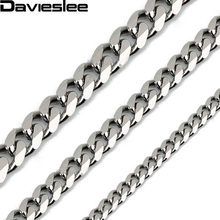 CUSTOMIZE SIZE 3/5/7mm Gold Color Silver Black Tone Mens Stainless Steel Chain Necklace Wholesale Christmas gift LKNM07