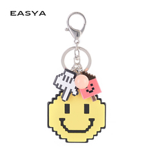 EASYA Anime Pixels Cute Emoji Keychain Smile Face Key Ring Women Bag Pendant Handmade Boutique Collection Handicraft Gift