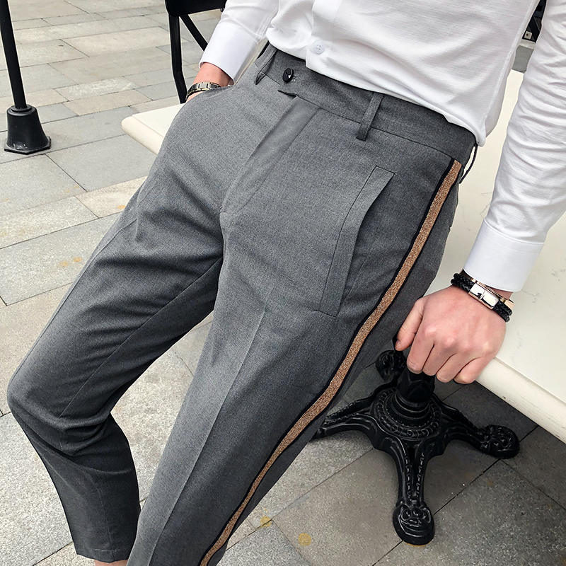 Parfum Homme Suit Pants Men Office Trousers for Men Dress Pants Ankle Length Casual Social Slim Fit Pantalones Hombre de vestir