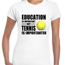Funny Clothing Casual T Shirts Education Is Important Tenniser Is Importanter Short Women Crew Neck Best Friend Shirts(China)
