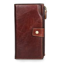 2017 Luxury Brand Men Genuine Leather Business Wallet Walet 20 Card Slots Card Holder Phone Bag For Men Male Zipper Large Purse