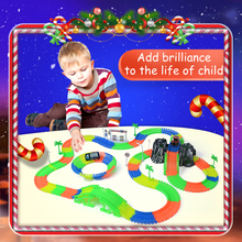 Railway road magical slot stunt glow race truck flexible toys for boys children's railroad glowing tracks cars luminous racing(China)