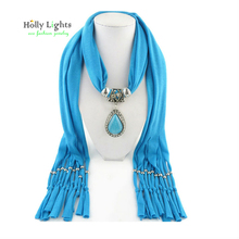 Sky Blue Scarf Style Girl Pendants & Necklaces Women Alloy Beads Antique Birthday & Valentine's Gifts 160CM Fashion Jewelry(China)