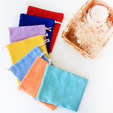 High Quality Canvas Storage Bag Solid Color Eco-Friendly Shopping Tea/candy/smoking Package Drawstring Bag Small Cloth Bag Gifts(China)