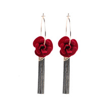 Red Rose Flower Tassel Hoop Earrings For Women Statement Personality Elegant Earring Fashion Jewelry Cute Gift