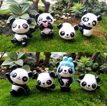 2pcs/lot Cute Panda Figurine Miniature Statue Decoration Mini fairy garden Cartoon Character animal resin craft TNA128