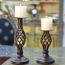 Metal Candle Holders Stand Pillar Iron Black Europe Candlestick For Candelabra Wedding Decoration Portavelas Candelabra 04901