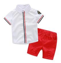 Hot sale 2017 Summer style Children clothing sets Baby boys girls t shirts+shorts pants+belt 3pcs sports suit kids clothes