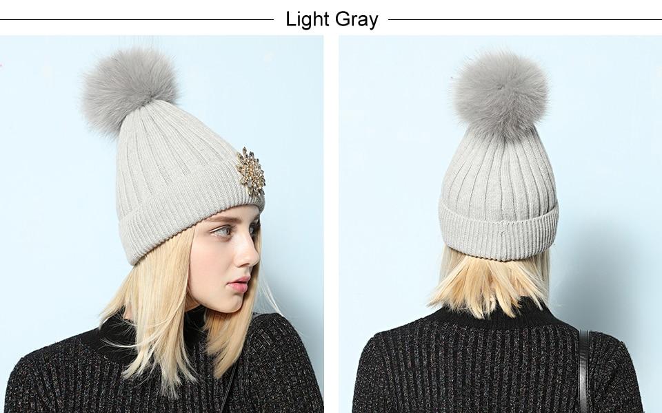 Ralferty Women's Real Fox Pompom Hat Knitted Rabbit Skullies Winter Hats For Women Big Flower Crystal Beanies Black Cap bonnet 6