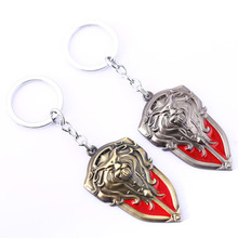 Hot wow Horde and Alliance War alloy keychains WOW weapon Shield key chains men pendants Free Shipping(China)