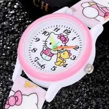 Hello Kitty Children Watches Cute Pink Special Kids Sport Clocks Cartoon KT Cat 3D Silicone Band Enfant Ceasuir Baby Gift Rejor
