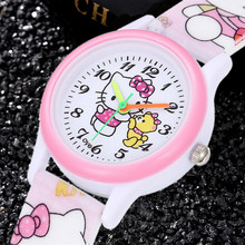 Hello Kitty Children Watches Cute Pink Special Kids Sport Clocks Cartoon KT Cat 3D Silicone Band Enfant Ceasuir Baby Gift Rejor(China)