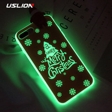 USLION Case For iPhone 8 7 6 6S Plus 3D Santa Claus Luminous Christmas Tree Phone Cases For iPhone 8 Plus Soft TPU Cover Coque