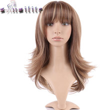 S-noilite None Lace Wigs Short Cut Hairstyle Loose Wave Hair Wigs Heat Resistant Synthetic Bob Wig with full Bangs(China)