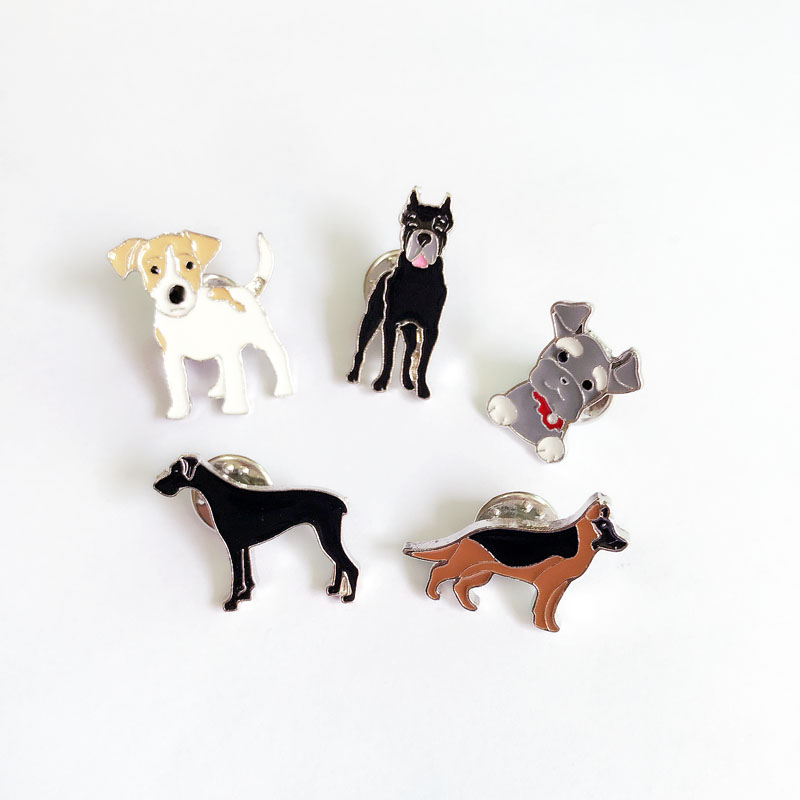 French Bulldog Art Dog USA silver plated pin with image of a dog in box