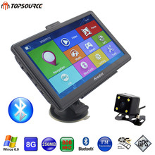 TOPSOURCE 7 Inch HD Car GPS Navigation 256MB/8GB Windows CE 6.0 Capacitive Screen GPS Navigator Rearview Camera sat nav Free Map