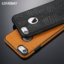 Lovebay Phone Case For iPhone 7 7 Plus Luxury Crocodile Pattern Soft PU Leather For iPhone 7 7 Plus Phone Case Cover Bags Shell