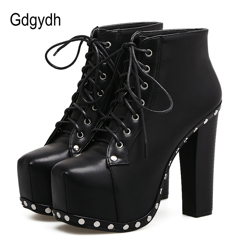 Gdgydh Sexy Rivet Ankle Boots For Women Square Heels Soft Leather Brown Lacing Party Shoes Ladies Autumn Shoes Big Size 41<br>