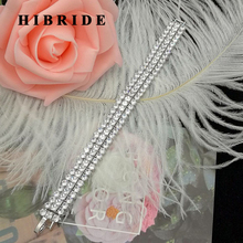HIBRIDE 18CM Luxury Women Clear Crystal Pulseira Feminina Bracelets Female Engagement Bangle Gifts B-84