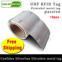 UHF RFID ultrathin anti metal tag confidex silverline 915m 868mhz Impinj M4QT 10pcs free shipping printable PET passive RFID tag