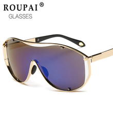 ROUPAI fashion original vintage Square goggle big mens sunglasses brand designer Mirror coating orange Sun Glasses shades