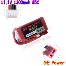 1pcs Oriainal GE Power 11.1V 1300Mah 25C MAX 40C T Plug Lipo Battery 3s for RC Car Airplane Helicopter