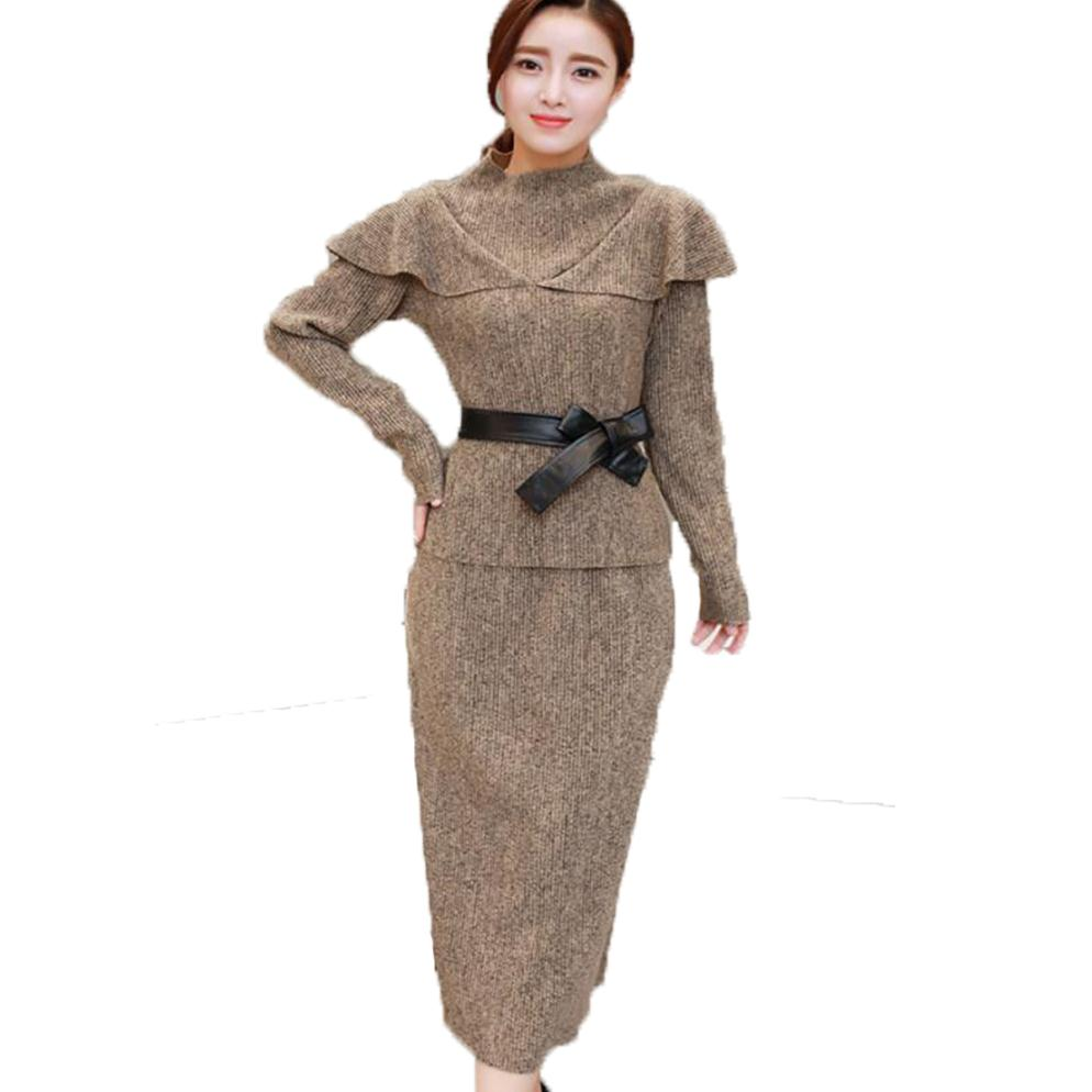 2 Pieces Set Knitted Sweater Dresses Women Plus Size Autumn Winter Long Sleeve Pencil Dress Women Office Lady Work Wear KhakiÎäåæäà è àêñåññóàðû<br><br>
