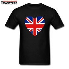 Latest Short Sleeve 100 % Cotton UK British Flag Heart Men's t-shirt men  t shirts Cheap Wholesale