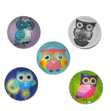 wholesale 30pcs/lot Mix Colors lovely cute Glass Nice Snap Buttons Fit Nice Bracelets Round Mixed Halloween Owl Pattern18mm