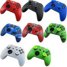 IVYQUEEN 1 x Soft Silicone Protective Skin Case Cover + 2x Thumb Sticks Caps Grips for Microsoft Xbox One 1 Wireless Controller