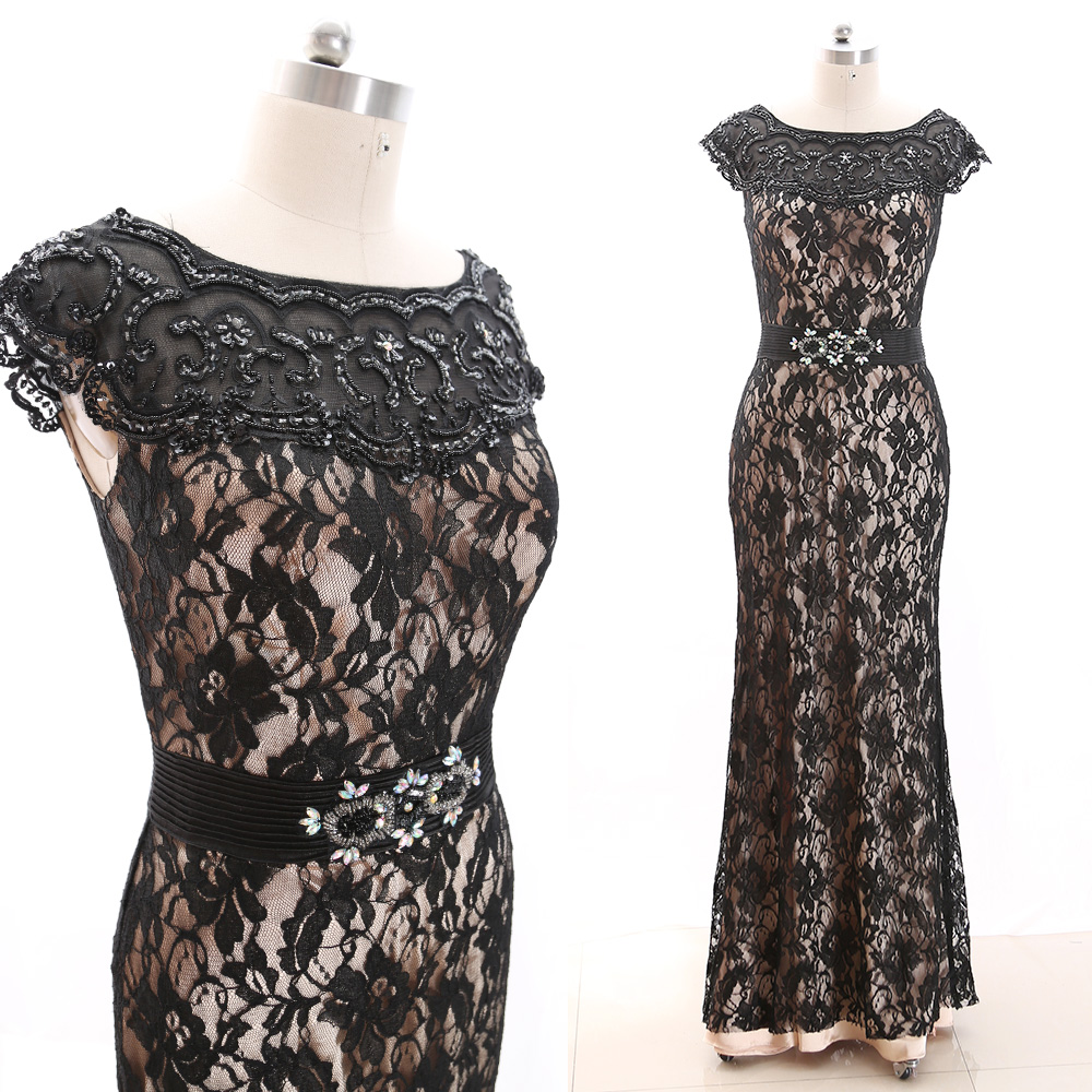 MACloth Black 0 Scoop Neck Floor-Length Long Crystal Lace Prom Dresses Dress L 266152 Clearance