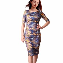 Free Shipping Casual Dresses Women Dress Plus Size 23 Color Floral Print Sheath Vestidos 106-42