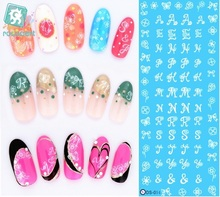 RU2PCS DS054 Water Transfer Foils Nail Art Sticker Fashion Nails English Letters Manicure Decals Minx Cute Nail Decorations(China)