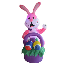 Pink Rabbit Easter egg Inflatable Toys LED Lighted Easter Thanksgiving Day Decoration Blow Up Yard Outdoor Christmas Party Props(China)