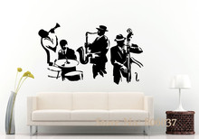 Wall Decal Jazz Saxophone Instrument Tool Band Musical Player Sticker Art Vinyl Drums Bass Wall Decal Vinyl Mural Adesivo WA-24