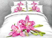 JF168 White fabric with lily flower print 5pcs comforter set queen king size bed in a bag cal king bedding