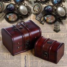 JAVRICK 2Pcs Wooden Pirate Jewellery Storage Box Case Holder Vintage Treasure Chest Carrying Cases