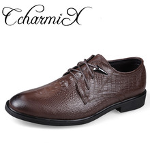 CcharmiX Plus Size 46 Genuine Leather Mens Dress Shoes Crocodile Pattern Leather Cool Wedding Shoes Man Fashion Formal Shoes(China)