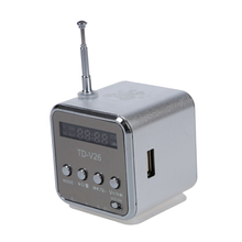 TD-V26 Portable Mini Speaker with Micro SD/TF/USB/FM Silver with 1 USB Cable and 1 Audio Cable