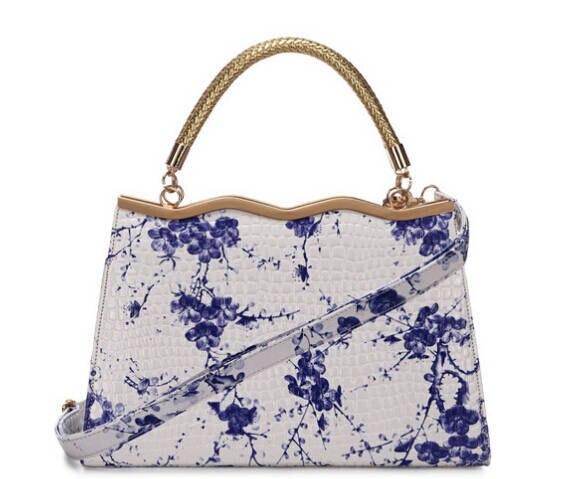 Hot sale Fashion Women Handbag Crocodile Style Blue &amp; White Porcelain Pattern Designer Shoulder Bags Vintage Messenger BagXA195C<br><br>Aliexpress